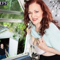 Redhead MILF over sixty Katherine Merlot exposing monster-sized floppy hooters for nipple play