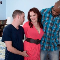 Redheaded grandma Katherine Merlot pulling out humungous ass before multiracial MMF 3 way