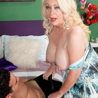 Round fair-haired MILF over Sixty Angelique DuBois whipping out pierced hard nips and hefty boobs