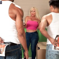 Sandy-haired granny Julia Butt whipping out cute melons in jeans before multiracial MMF Three-way