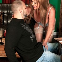 Seductive MILF over Sixty Lexi McCain seducing junior boy in milky hose and lingerie