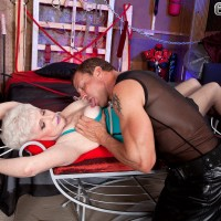 Short haired granny Jewel liking xxx S/M & SM sex in latex dress and tights