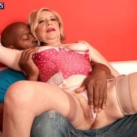 Stocking and high heel clad MILF over Sixty Miranda Torri having hardcore multiracial sex