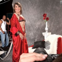Stocking and lingerie adorned MILF over 60 Donna Davidson having interracial MMF