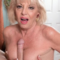 Stocking wearing fair-haired MILF over Sixty Scarlet Andrews funbag fucking large rod
