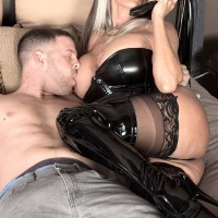 Stripper boot and latex outfitted experienced XXX film starlet Sally D'Angelo wanking and licking large knob